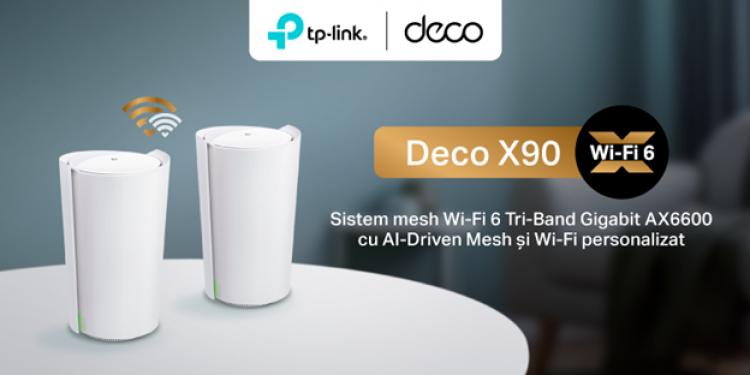 TP-Link a lansat pe piața din România un dispozitiv cu inteligență artificială, Deco X90, cel mai rapid sistem mesh cu standard Wi-Fi 6 lansat până acum de TP-Link