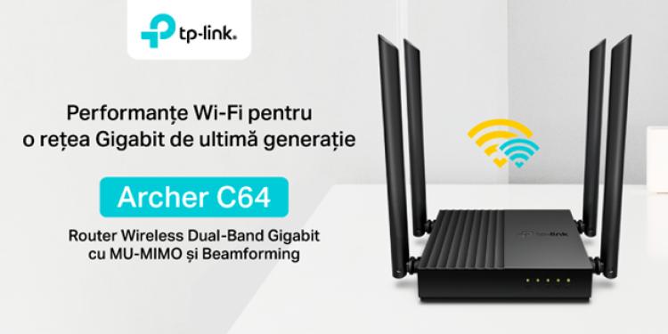 TP-Link lansează noul router Wireless Dual-Band Gigabit Archer C64, care asigură conexiuni neîntrerupte și performanță de înaltă calitate