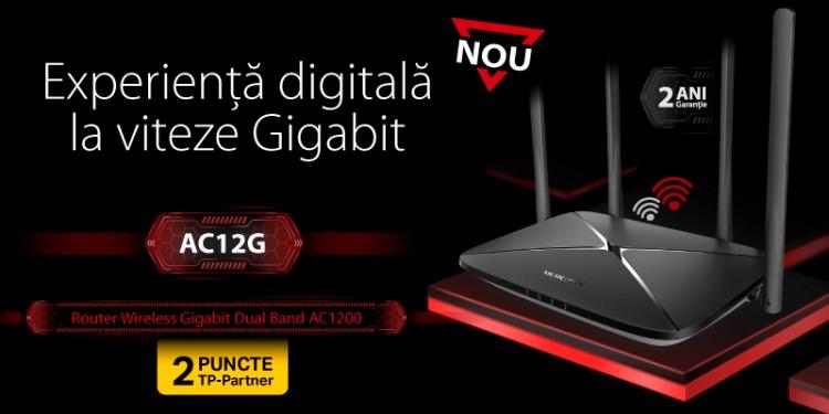 Mercusys lansează noul produs de vârf AC12G, un router Gigabit AC1200 capabil de viteze de internet spectaculoase