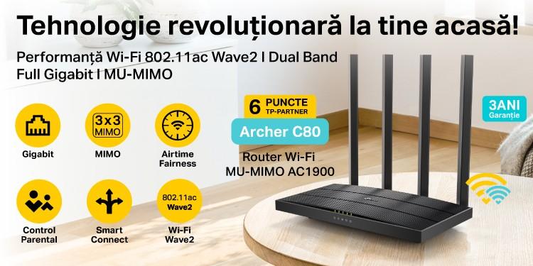 Archer C80 | Router Wi-Fi 802.11ac Wave2 MU-MIMO AC1900 Gigabit