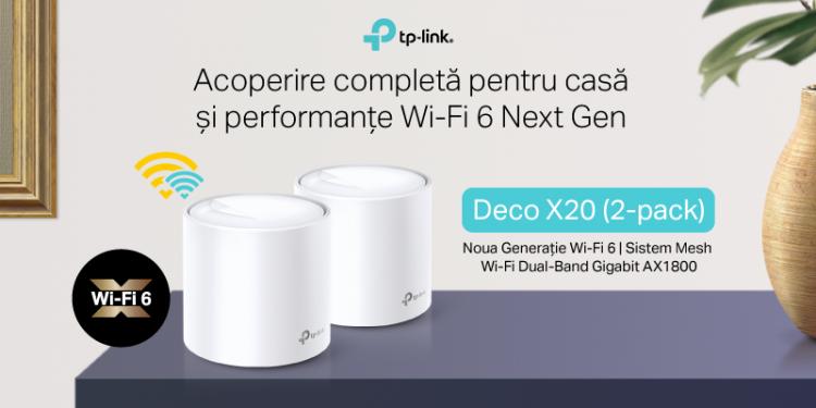 TP-Link® lansează în România Deco X20, primul său Sistem Mesh Wi-Fi 6 entry-level Dual-Band Gigabit