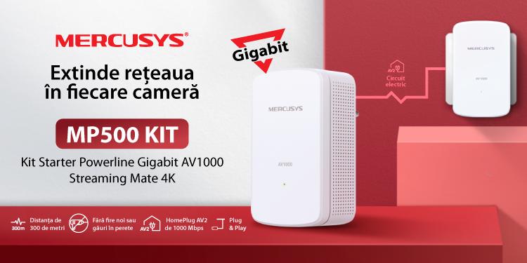Mercusys® lansează în România MP500 KIT, primul adaptor Powerline Gigabit al companiei, pentru extinderea rețelei de înaltă viteză, la un preț accesibil