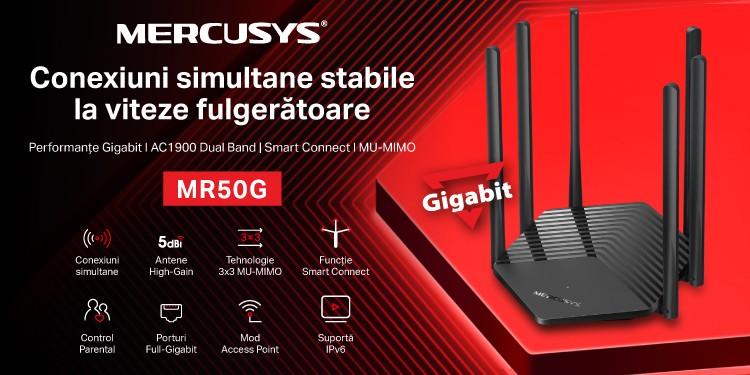 Mercusys® lansează în România routerul MR50G AC1900, noul flagship Dual Band Gigabit al companiei, cu funcții performante la un preț accesibil