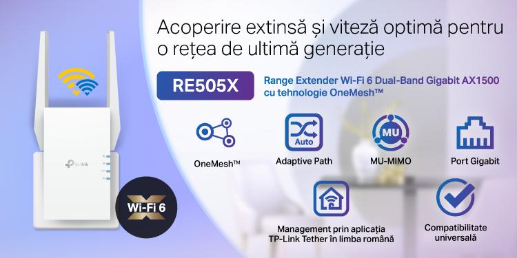 TP-Link lansează în România primul Range Extender cu tehnologie AX, RE505X, și aduce în casele utilizatorilor noua generație Wi-Fi 6, acum cu acoperire extinsă