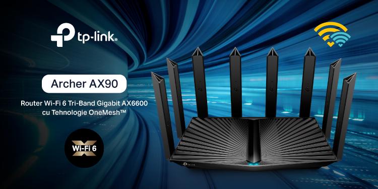 TP-Link a lansat în România routerul Wi-Fi 6 Tri-Band Gigabit Archer AX90, cu tehnologie OneMesh™